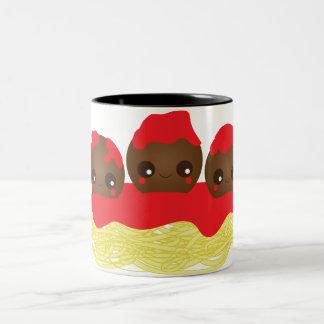 スパゲッティ及びミートボール ツートーンマグカップ