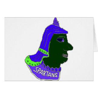スパルタ式のヘッドロゴのインディゴおよびモスグリーン カード