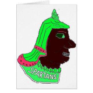 スパルタ式のヘッドロゴのネオン緑および黒い カード