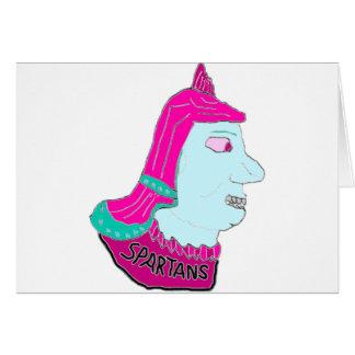 スパルタ式のヘッドロゴのピンクおよび淡いブルー カード