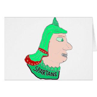 スパルタ式のヘッドロゴの緑およびモモ カード
