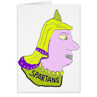 スパルタ式のヘッドロゴの黄色および藤色 カード