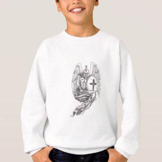 スパルタ式の戦士の天使の盾の数珠の入れ墨 スウェットシャツ