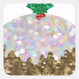 スパンコールのクリスマスプディング スクエアシール