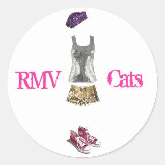 スパンコールの女の子、rmv猫 丸型シール