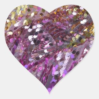 スパンコールの虹色の輝きの宝石 ハートシール