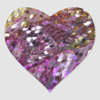スパンコールの虹色の輝きの宝石 ハート形シールステッカー