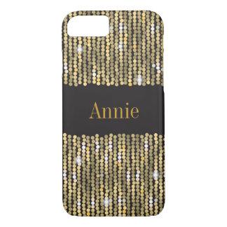 スパンコールの金ゴールドのiPhone 7のやっとそこに場合 iPhone 8/7ケース