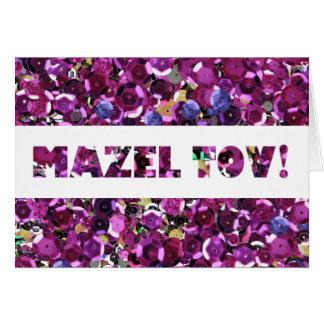 スパンコールのMazelピンクのTovのお祝い カード