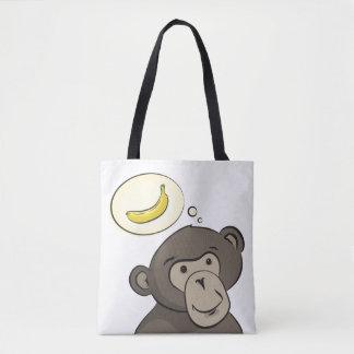 スピーチの泡の中のバナナを持つおもしろいな猿 トートバッグ
