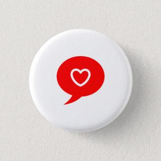スピーチの泡円形ボタンのハート 3.2CM 丸型バッジ