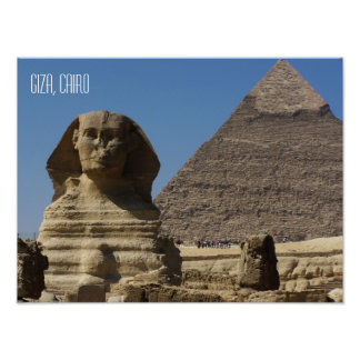 スフィンクスの彫像のギーザ素晴らしいカイロエジプトの記念品 フォトプリント