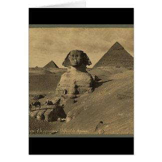 スフィンクスの足の人そしてラクダ、ピラミッド カード