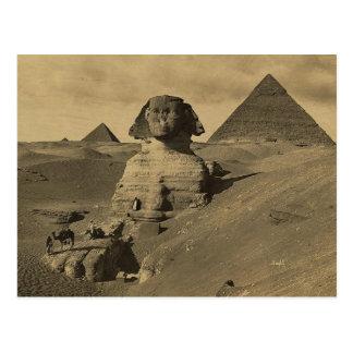 スフィンクスの足の人そしてラクダ、ピラミッド 葉書き