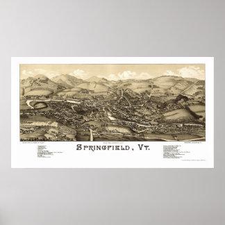 スプリングフィールドのVTのパノラマ式の地図- 1886年 ポスター