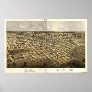 スプリングフィールドイリノイ1867の旧式なパノラマ式の地図 ポスター