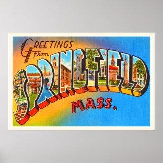 スプリングフィールドマサチューセッツMA古い旅行記念品 ポスター