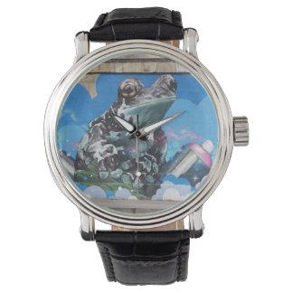 スプレー容器の落書き間のクールなカエル 腕時計