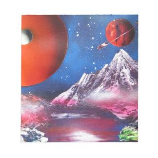 スプレー式塗料の芸術の宇宙の惑星場面 ノートパッド