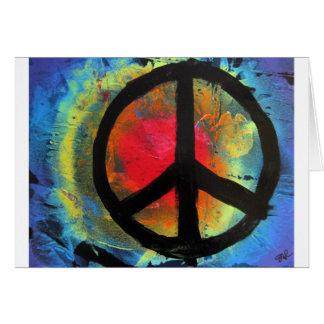 スプレー式塗料の芸術の虹のピースサインの絵画 カード