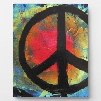 スプレー式塗料の芸術の虹のピースサインの絵画 フォトプラーク