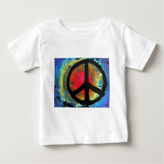 スプレー式塗料の芸術の虹のピースサインの絵画 ベビーTシャツ