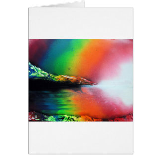 スプレー式塗料の芸術の虹の風景画 カード