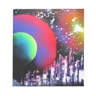 スプレー式塗料の芸術都市宇宙の風景画 ノートパッド