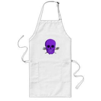 スプーンおよびフォークが付いている紫色のシェフの料理のスカル ロングエプロン