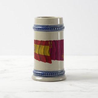 スペインおよびムルシアの振る旗 ビールジョッキ