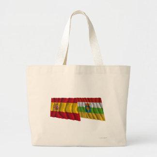スペインおよびラ・リオハの振る旗 ラージトートバッグ