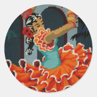 スペインのなフラメンコのダンサーのステッカー ラウンドシール