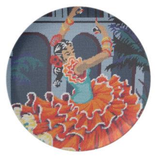 スペインのなフラメンコのダンサーのプレート プレート