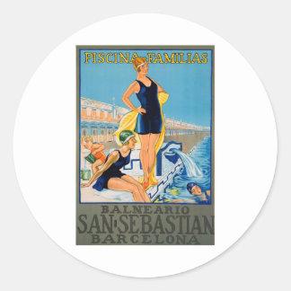 スペインのなリゾートポスター ラウンドシール