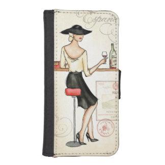 スペインのなワインを飲んでいる女性 iPhoneSE/5/5sウォレットケース