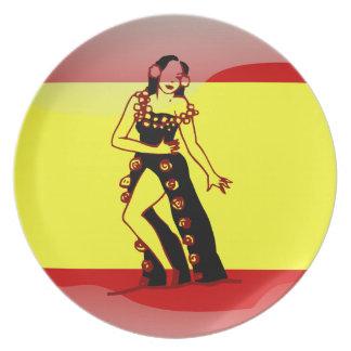 スペインのな光沢のある旗 プレート
