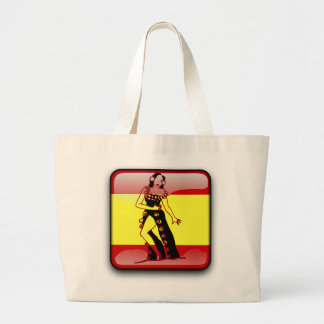 スペインのな光沢のある旗 ラージトートバッグ