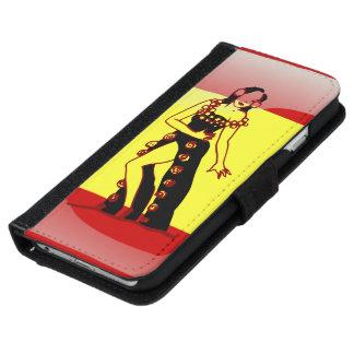 スペインのな光沢のある旗 iPhone 6/6S ウォレットケース