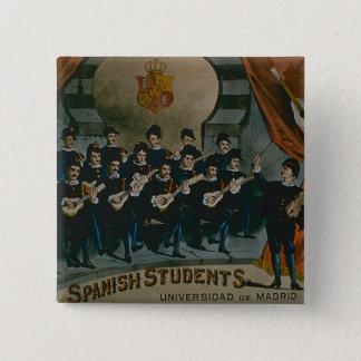 「スペインのな学生、マドリードの大学」(色l 5.1cm 正方形バッジ