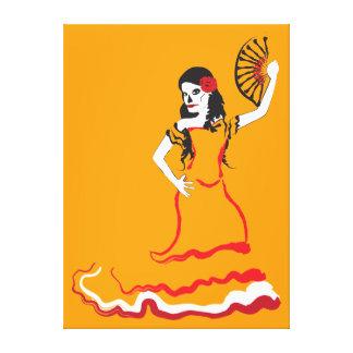 スペインのな砂糖のスカルのダンサー: オレンジ キャンバスプリント