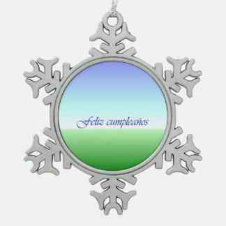 スペインのな誕生日の青緑の雪片のオーナメント スノーフレークピューターオーナメント
