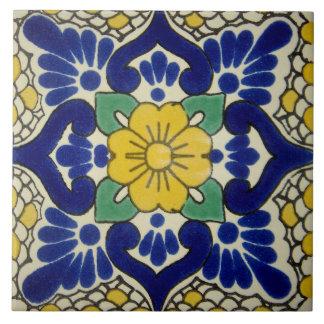スペインのな青及び黄色の花の陶磁器の写真のタイル タイル