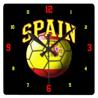 スペインのサッカーボールの時計の旗 スクエア壁時計