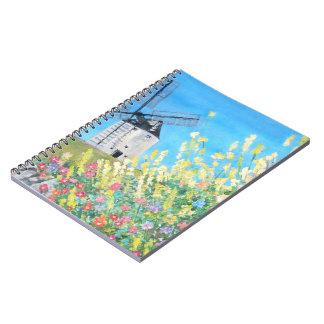 スペインのノートのConsuegraの風車 ノートブック