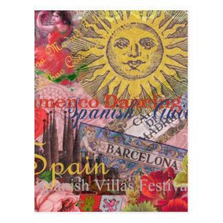 スペインのヴィンテージの粋なスペイン人旅行コラージュ ポストカード