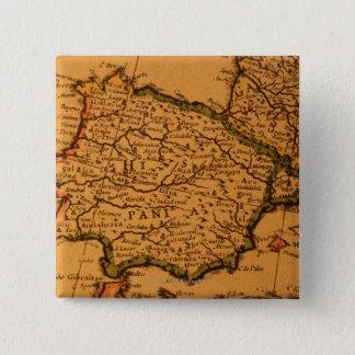 スペインの古い地図 5.1CM 正方形バッジ
