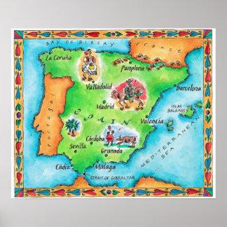 スペインの地図 ポスター
