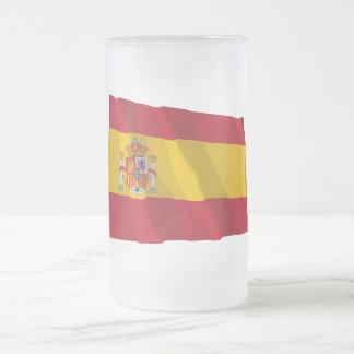 スペインの振る旗 フロストグラスビールジョッキ