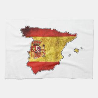 スペインの旗の地図 キッチンタオル