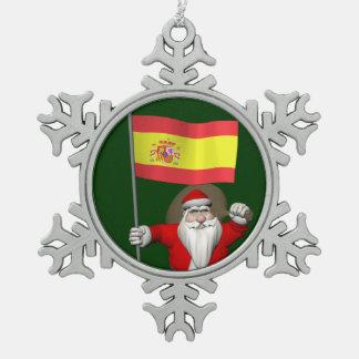 スペインの旗を持つサンタクロース スノーフレークピューターオーナメント